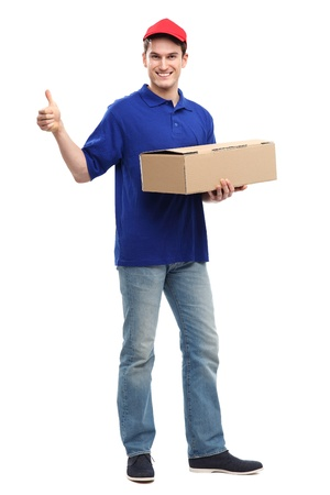 Delivery man showing thumbs up photo