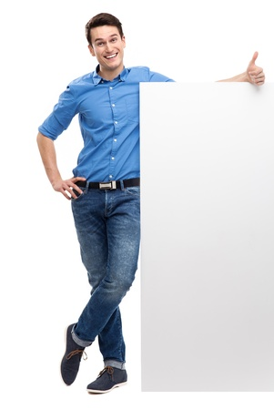 thumbs up business: Man with blank poster showing thumbs up Stock Photo