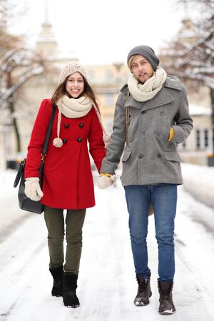 Young couple in winter setting photo