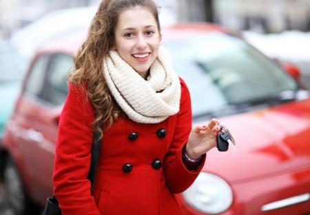 Young woman showing car key Stock Photo - 18198441
