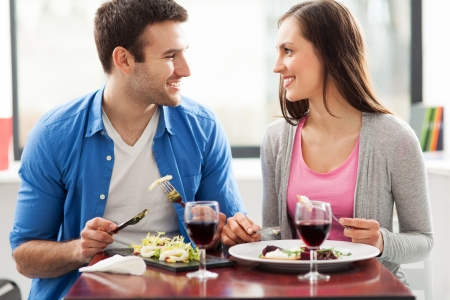 dining out: Couple dining in restaurant Stock Photo