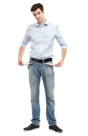 empty pockets: Man showing empty pockets