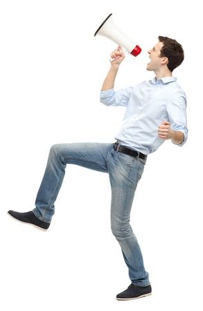 man shouting: Man shouting through megaphone Stock Photo