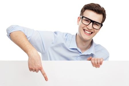 Man pointing at blank poster photo