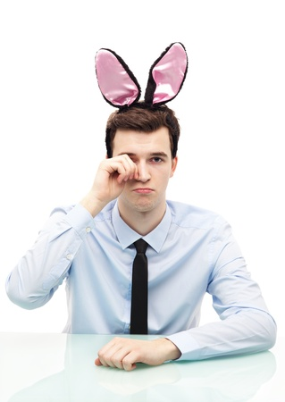 Man wearing bunny ears photo