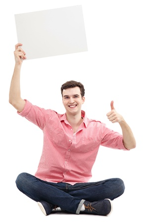 Guy with blank sign showing thumbs up photo