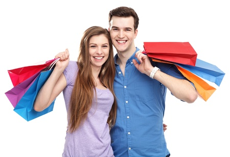 shopping man: Couple with shopping bags Stock Photo