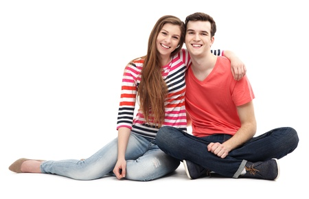 sit on studio: Young couple sitting