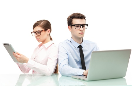 Business people with laptop and digital tablet photo