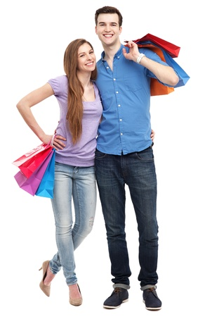 friends shopping: Couple with shopping bags Stock Photo
