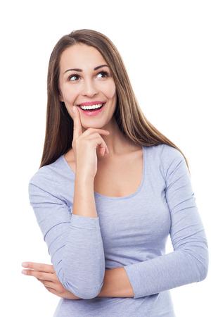 femme regarde en haut: Belle femme regardant en place