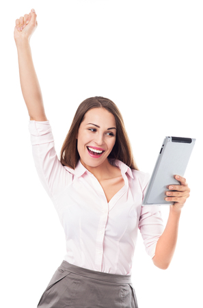 Happy woman holding digital tablet photo