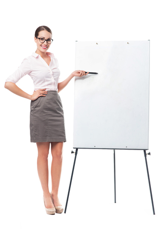 Businesswoman with flip chart photo