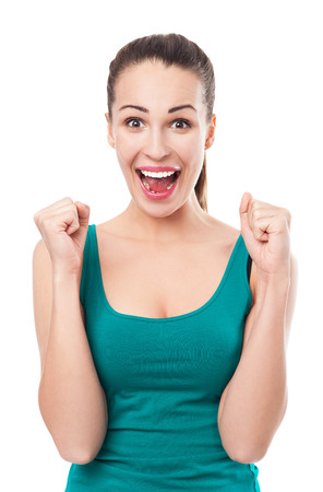 Excited young woman Stock Photo