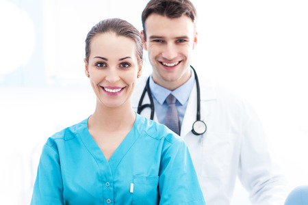 Female nurse and male doctor photo