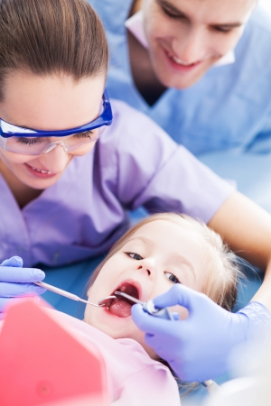 Little girl at the dentist photo