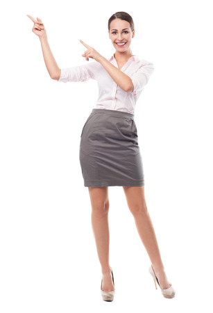 Businesswoman pointing photo