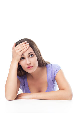 worried woman: Depressed young woman Stock Photo