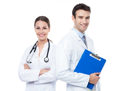 Friendly male and female doctors Stock Photo