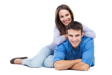 over white background: Young couple over white background Stock Photo