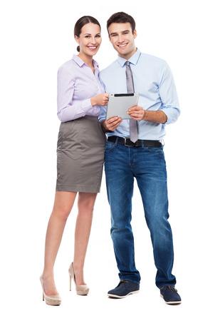vendedor: Hombres de negocios con la tableta digital Foto de archivo