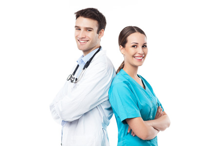 Male doctor and female nurse photo