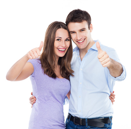 two thumbs up: Couple showing thumbs up Stock Photo
