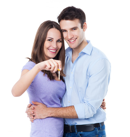 house key: Couple with the keys of the new home
