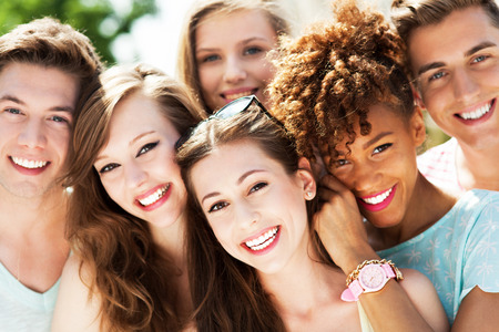 girl bonding: Happy young friends Stock Photo