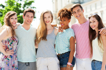 Young friends smiling photo