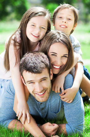 lawn: Happy family of four
