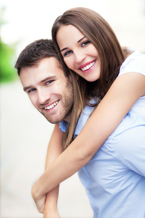 smiles: Young couple smiling