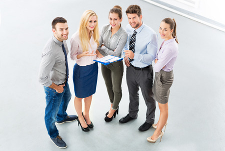 five people: Business group, high angle view