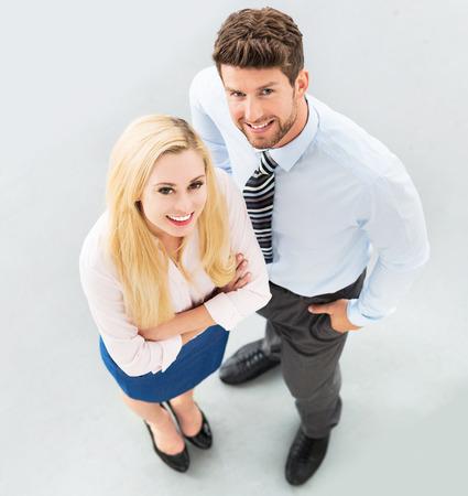 high angle shot: Business man and woman
