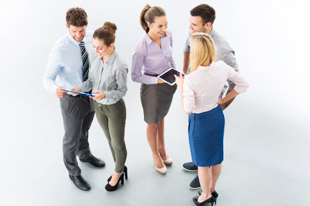 five people: Business people, high angle view