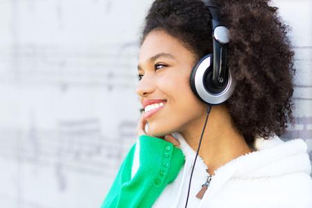 afroamerican: Afro-American with headphones