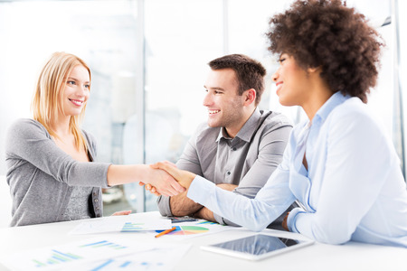 african american handshake: Businesspeople shaking hands