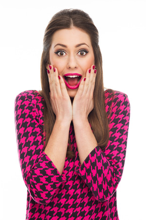 stunned: Surprised young woman Stock Photo
