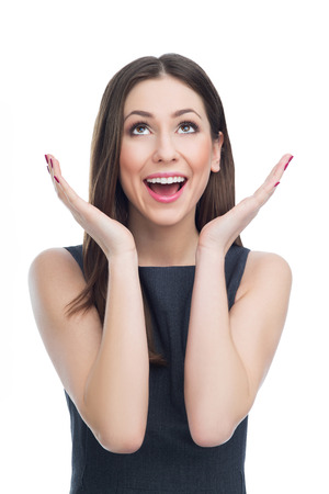 Überrascht Frau sucht Standard-Bild