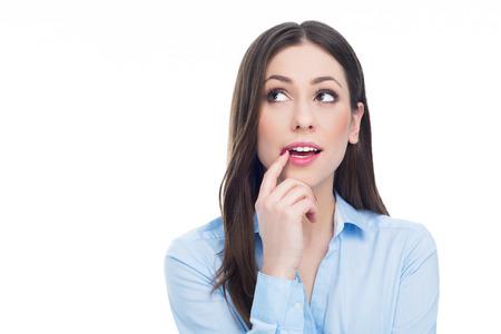 Woman thinking 스톡 콘텐츠