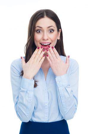 to gestures: Mujer sorprendida joven Foto de archivo