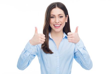 Woman showing thumbs up 스톡 콘텐츠