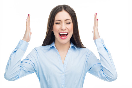 boca cerrada: Mujer Estresado