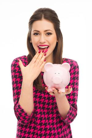 piggybank: Woman holding piggybank
