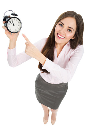 woman with clock: Woman holding clock