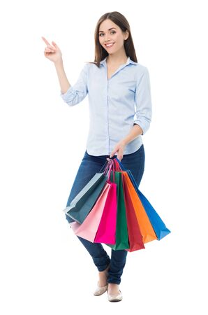 isolatedrn: Woman holding shopping bags
