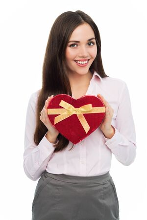 heartshaped: Woman holding heart-shaped box