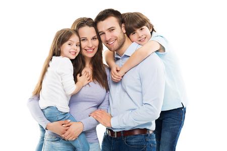 Unga familjen Limning Stockfoto