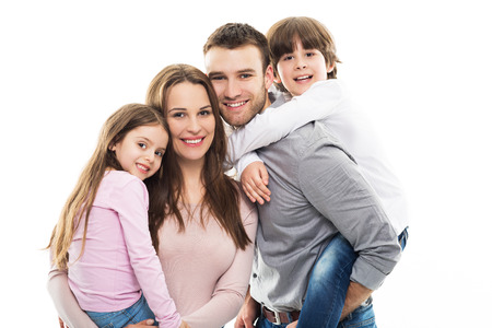 white background: Young Family Bonding