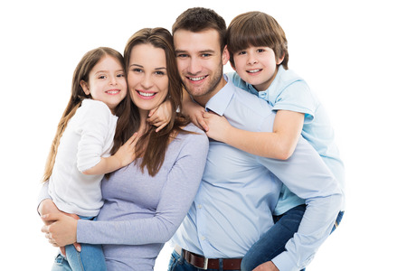 Happy family with two kids Banco de Imagens